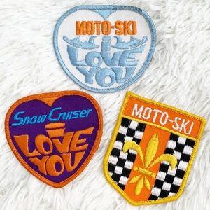 Vintage 1970's Moto-Ski snowmobile patches -set/3
